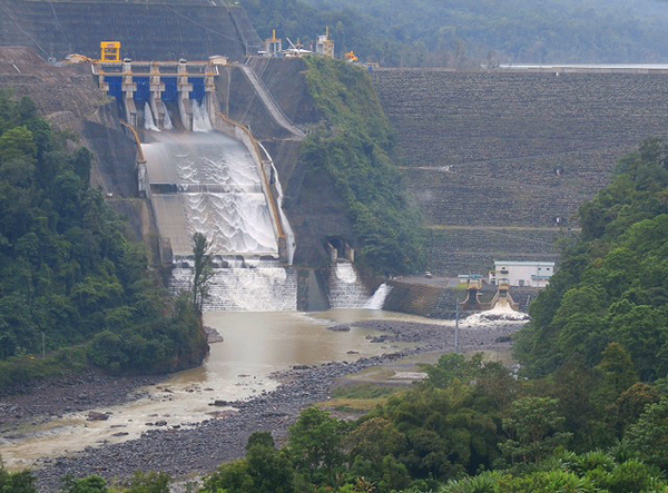 Spillway of the Reventazon Hydroelectric Project Dam in Costa Rica