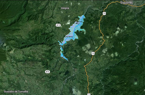Map of the Reventazon River Reservoir between Turrialba and Siquirres in Costa Rica.